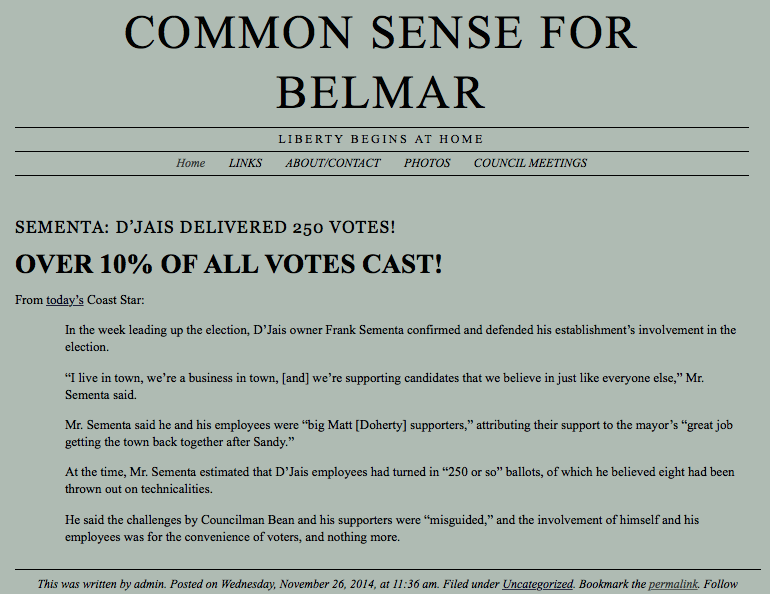 common sense for belmar an end to the d jais voter mill