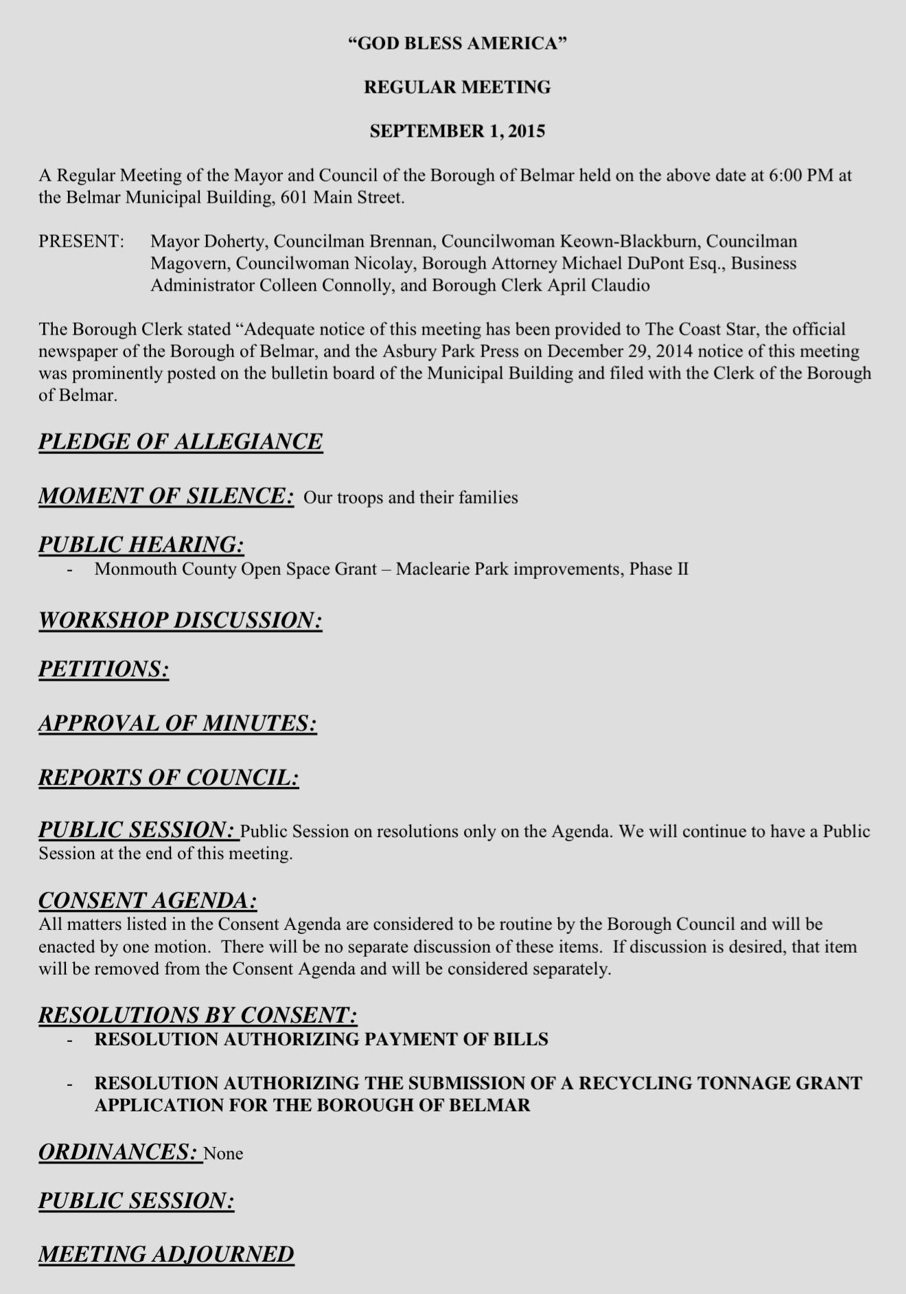 Common sense for belmar sept 1 agenda for Common sense for belmar