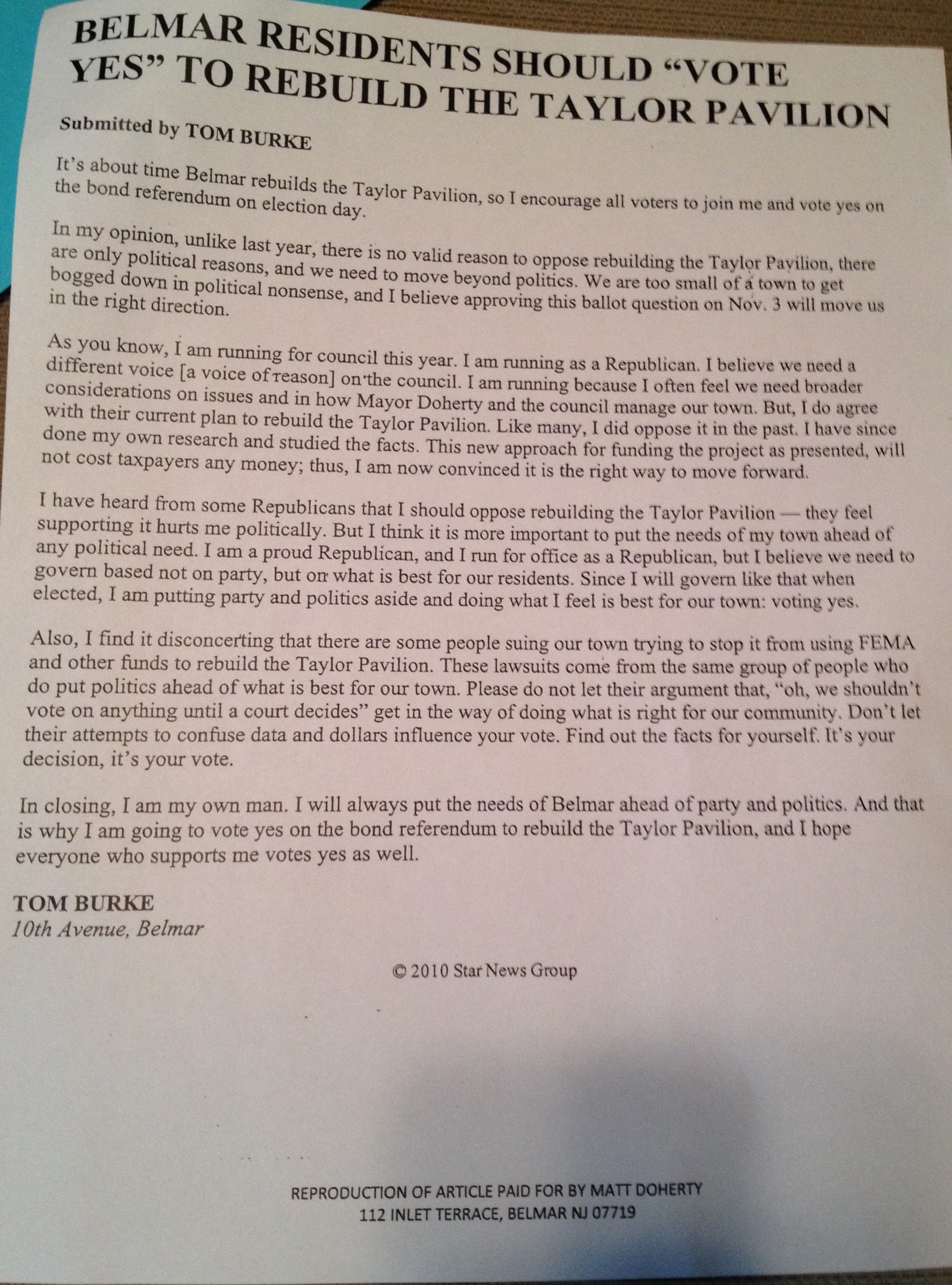 tom letter
