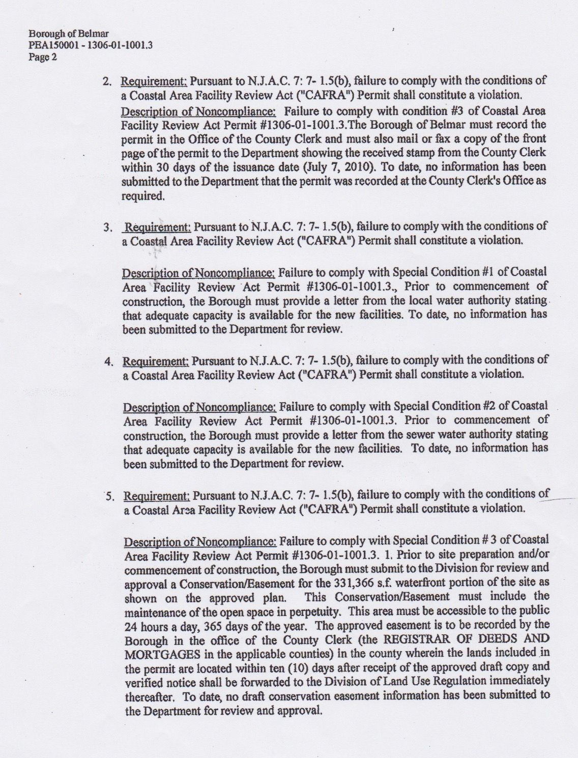 cafra violation notice 2