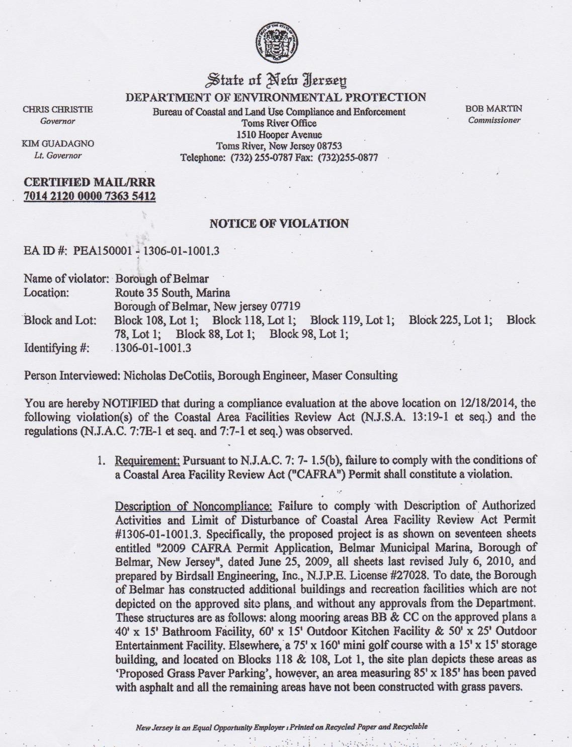 cafra violation notice