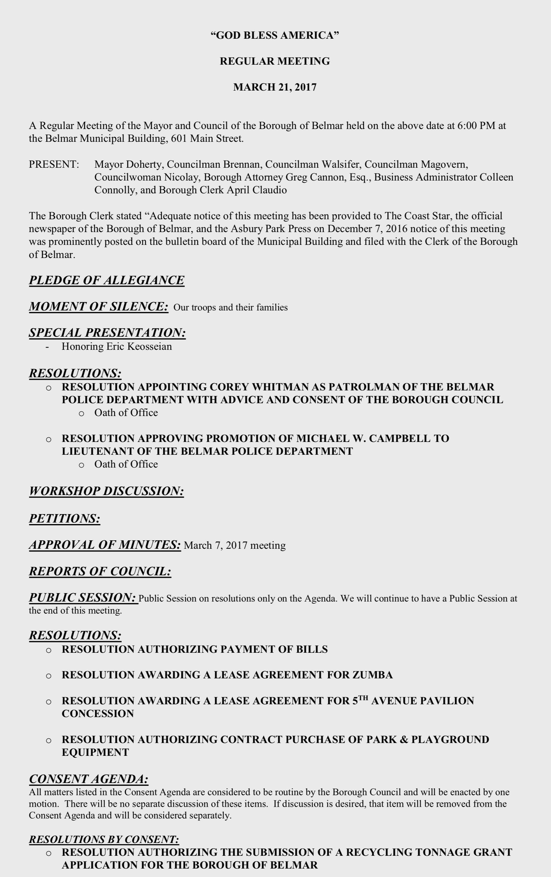 Common sense for belmar march 21 agenda for Common sense for belmar