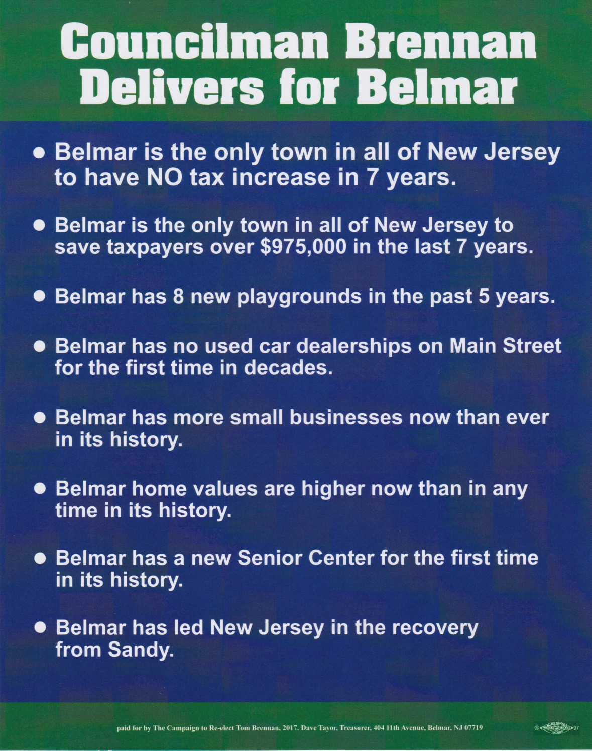 Common sense for belmar re elect tom who for Common sense for belmar